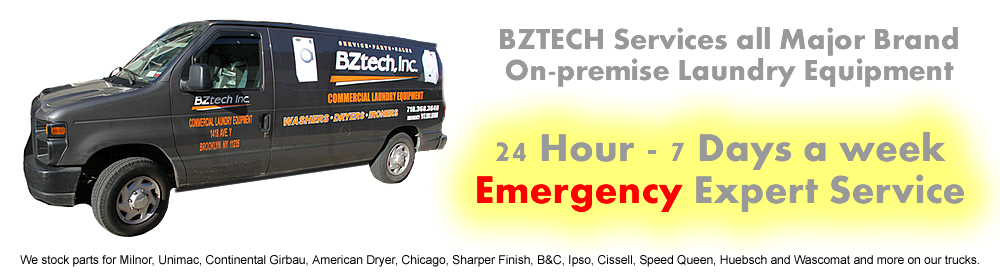 BZTech provides repair service on Commercial washers, dryers and ironers